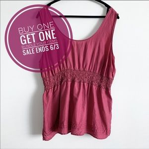Tops - Pink Silk Top With Beaded Waistband